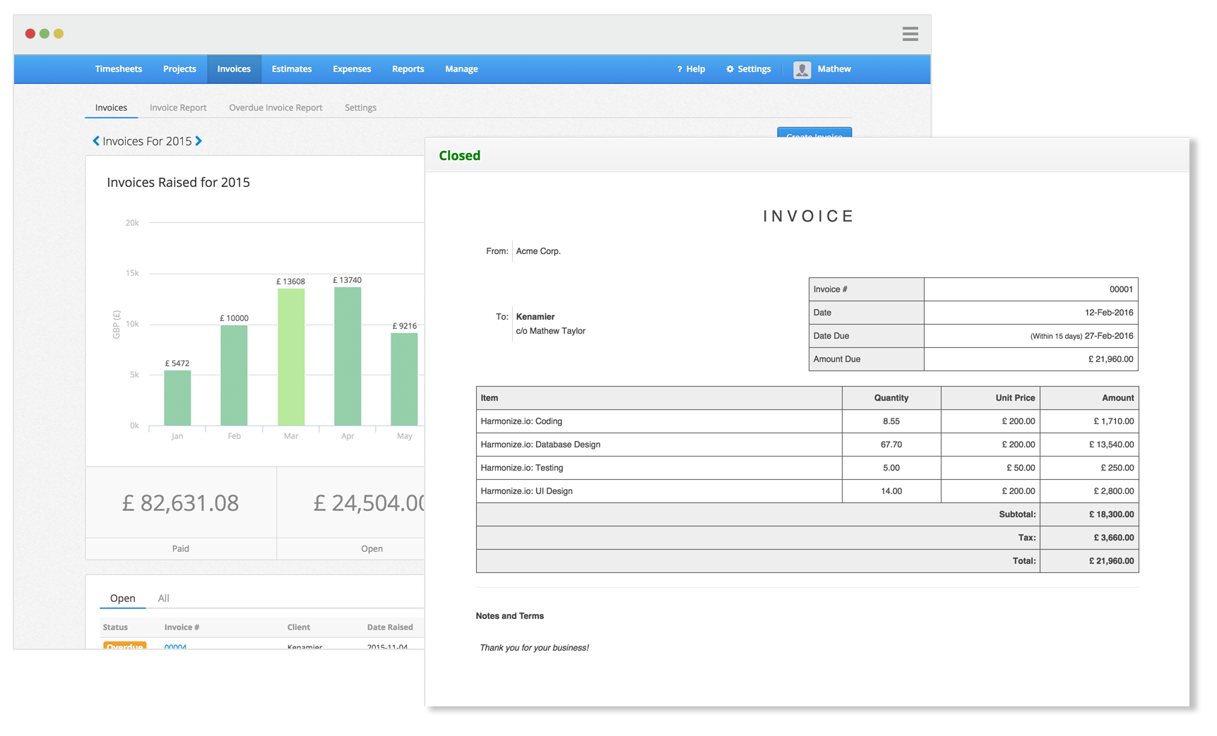 online time tracking software invoicing app for online billing